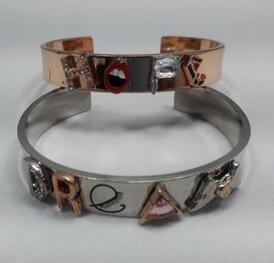 "2 Silver/Rose Gold  ""Hope &Dream"" Cuff bracelet"